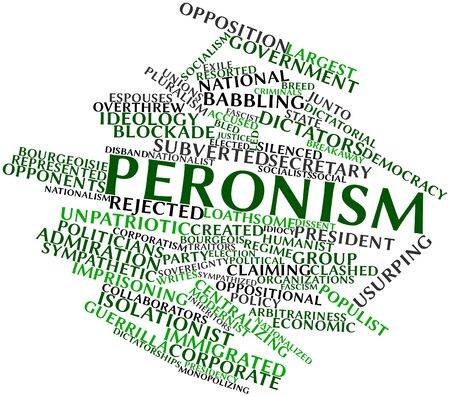 Abstract word cloud for Peronism with related tags and terms Stock Photo