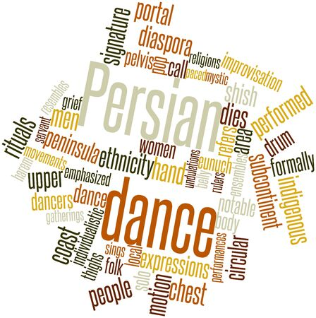 Abstract word cloud for Persian dance with related tags and terms