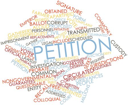 addressed: Abstract word cloud for Petition with related tags and terms