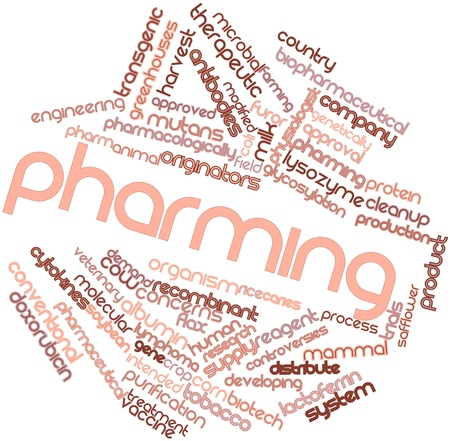 physiologist: Abstract word cloud for Pharming with related tags and terms Stock Photo