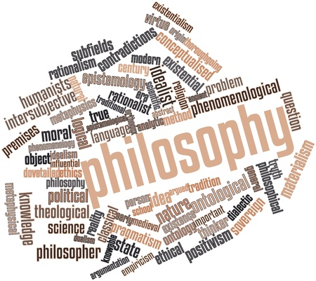 virtue: Abstract word cloud for Philosophy with related tags and terms Stock Photo