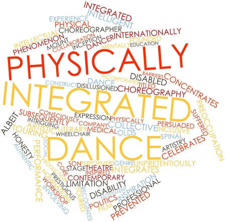 incorporates: Abstract word cloud for Physically integrated dance with related tags and terms Stock Photo