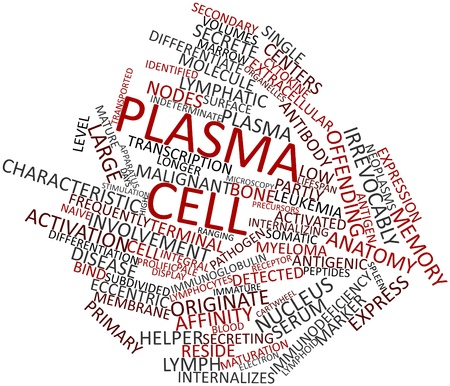 originate: Abstract word cloud for Plasma cell with related tags and terms Stock Photo