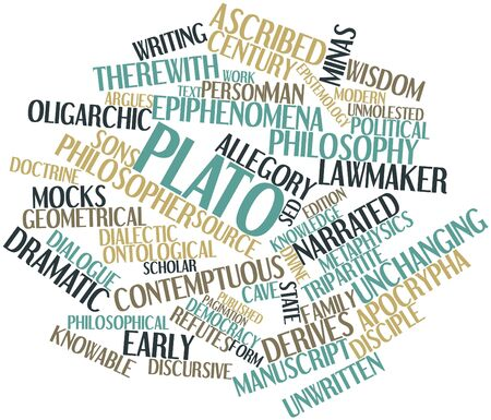 named person: Abstract word cloud for Plato with related tags and terms