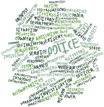 Abstract word cloud for Police with related tags and terms