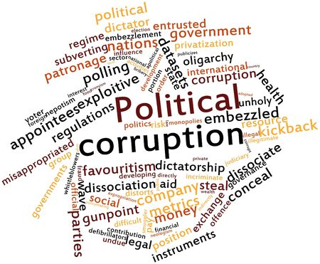 Abstract word cloud for Political corruption with related tags and terms photo