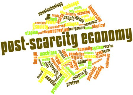 blacking: Abstract word cloud for Post-scarcity economy with related tags and terms