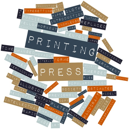 steam output: Abstract word cloud for Printing press with related tags and terms