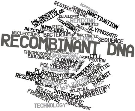 recombinant: Word cloud astratto per il DNA ricombinante con tag correlati e termini
