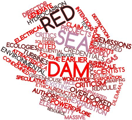 emphasized: Abstract word cloud for Red Sea Dam with related tags and terms Stock Photo