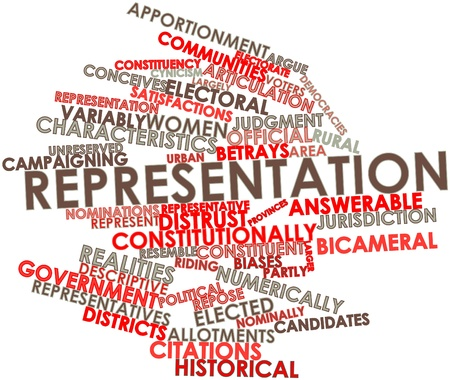 nominally: Abstract word cloud for Representation with related tags and terms Stock Photo