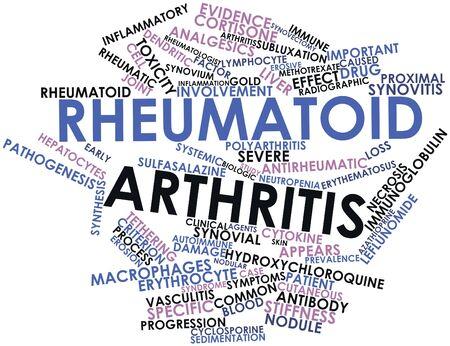 artritis: Nube palabra abstracta para la artritis reumatoide con etiquetas y términos relacionados