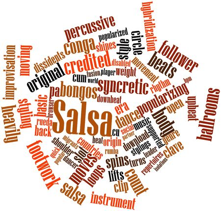 関連するタグと用語とサルサの抽象的な単語雲