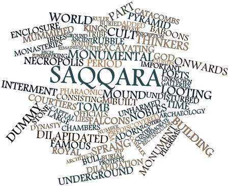 comprising: Abstract word cloud for Saqqara with related tags and terms Stock Photo