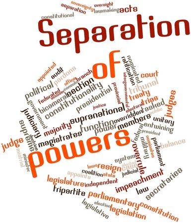 ratificaci�n: Nube palabra abstracta para la separaci�n de poderes con las etiquetas y t�rminos relacionados