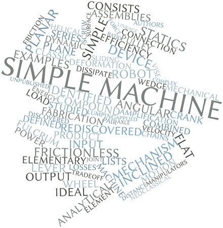 arose: Abstract word cloud for Simple machine with related tags and terms Stock Photo