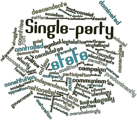 authoritarian: Abstract word cloud for Single-party state with related tags and terms