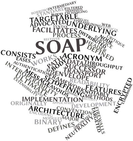 unrelated: Abstract word cloud for SOAP with related tags and terms