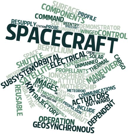 manned: Abstract word cloud for Spacecraft with related tags and terms