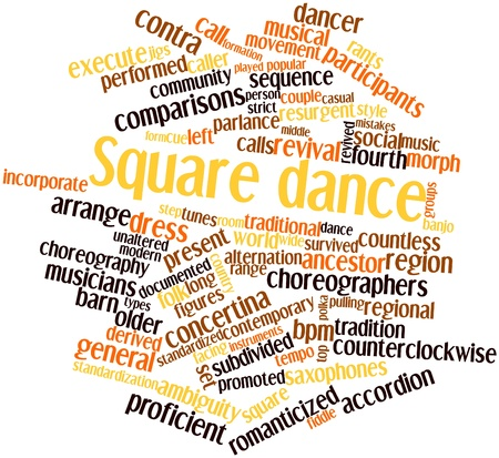 documented: Abstract word cloud for Square dance with related tags and terms