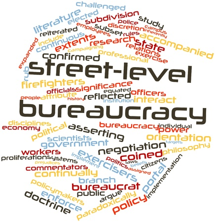 coined: Abstract word cloud for Street-level bureaucracy with related tags and terms