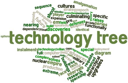 computer centers: Abstract word cloud for Technology tree with related tags and terms Stock Photo