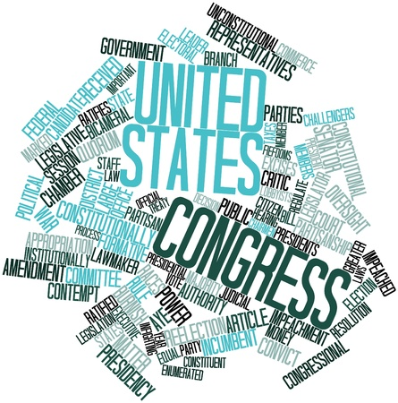congress: Abstract word cloud for United States Congress with related tags and terms Stock Photo