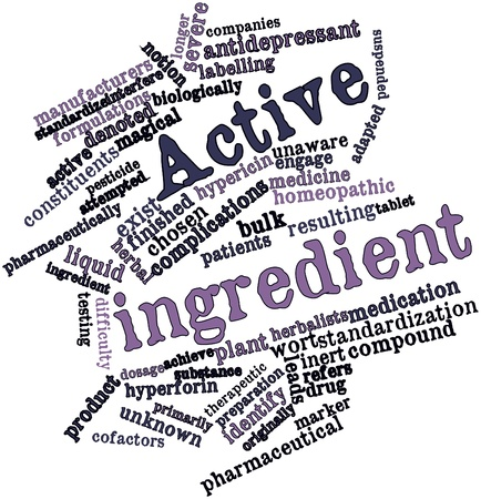 denoted: Abstract word cloud for Active ingredient with related tags and terms