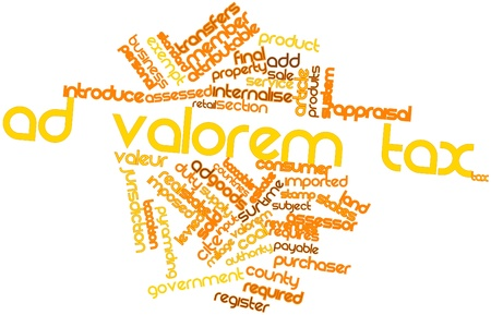 attributable: Abstract word cloud for Ad valorem tax with related tags and terms Stock Photo