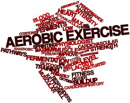 ejercicio aer�bico: Nube palabra abstracta para ejercicio aer�bico con etiquetas y t�rminos relacionados Foto de archivo