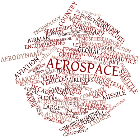 aeronautics: Abstract word cloud for Aerospace with related tags and terms