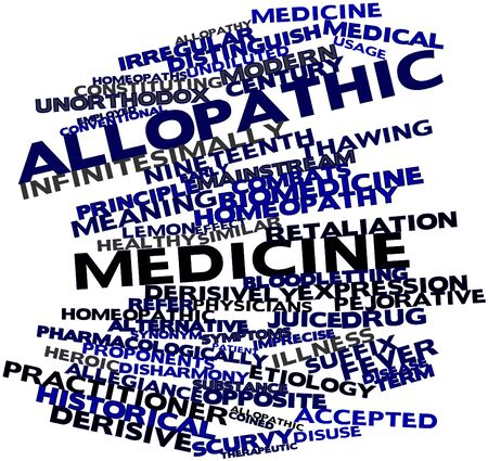 coined: Abstract word cloud for Allopathic medicine with related tags and terms Stock Photo