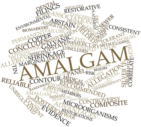 implicated: Abstract word cloud for Amalgam with related tags and terms Stock Photo