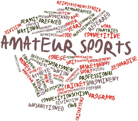 collegiate: Abstract word cloud for Amateur sports with related tags and terms Stock Photo