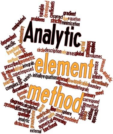 analytic: Nube palabra abstracta para el m�todo anal�tico elemento con etiquetas y t�rminos relacionados
