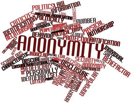 detained: Nube palabra abstracta para el anonimato con etiquetas y t�rminos relacionados