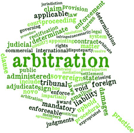 adjudicate: Abstract word cloud for Arbitration with related tags and terms Stock Photo