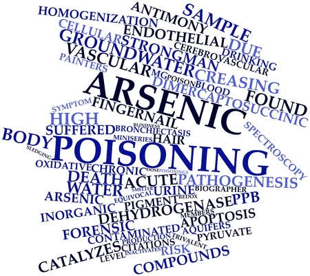 pathogenesis: Abstract word cloud for Arsenic poisoning with related tags and terms Stock Photo