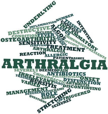 irrelevant: Abstract word cloud for Arthralgia with related tags and terms