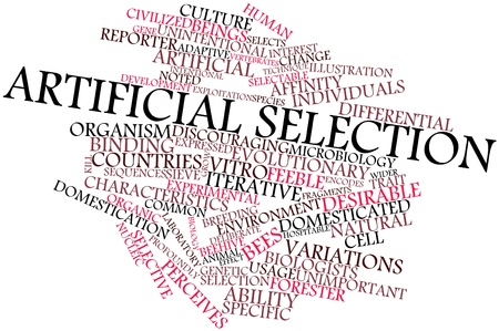 discouraging: Abstract word cloud for Artificial selection with related tags and terms Stock Photo