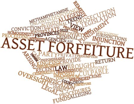 culpable: Abstract word cloud for Asset forfeiture with related tags and terms Stock Photo