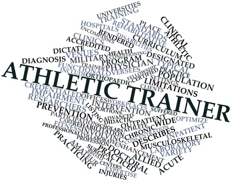 suffered: Abstract word cloud for Athletic trainer with related tags and terms Stock Photo