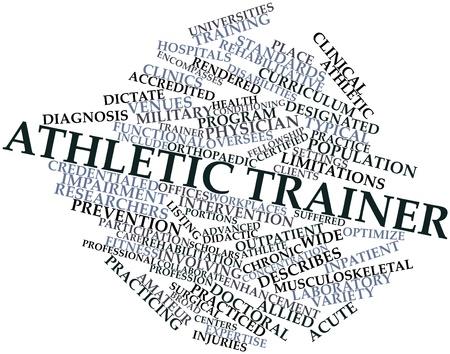 laboratorio clinico: Nube palabra abstracta para Entrenador de atletismo con las etiquetas y términos relacionados