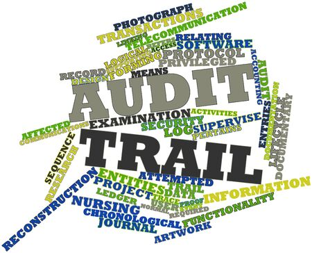 attempted: Abstract word cloud for Audit trail with related tags and terms Stock Photo
