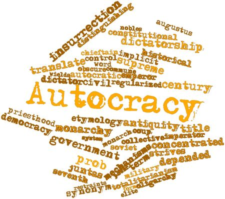 depended: Abstract word cloud for Autocracy with related tags and terms Stock Photo