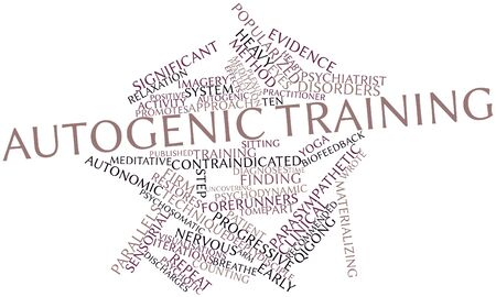 promotes: Abstract word cloud for Autogenic training with related tags and terms Stock Photo
