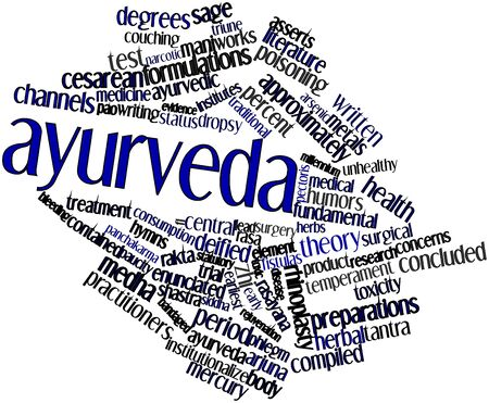 Abstract word cloud for Ayurveda with related tags and terms photo
