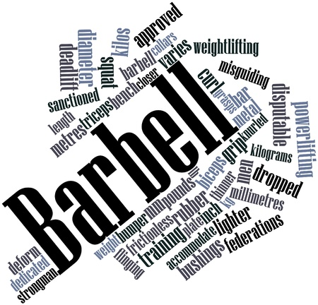 kilos: Abstract word cloud for Barbell with related tags and terms Stock Photo