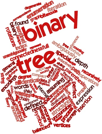 vertex: Abstract word cloud for Binary tree with related tags and terms Stock Photo