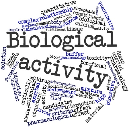 Abstract word cloud for Biological activity with related tags and terms Stock Photo - 16720635